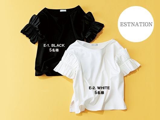 Estnation フリルスリーブTシャツ 各¥16,000