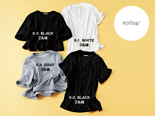 Styling/ (右)ジョーゼットVネックTシャツ 各¥9,200 (左)コットン鹿の子 トップス 各¥14,000